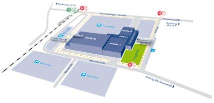 Lageplan und Grundriss der Halle Messe